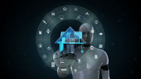 Robot cyborg som trycker på IoT den smarta hem- anordningen, internet av saker, konstgjord intelligens 2 lager videofilmer