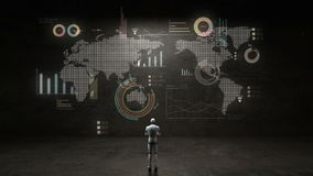Robot, cyborg standing in front of wall, using global communication technology. with economic diagram,chart,graph. Robot, cyborg standing in front of wall stock footage