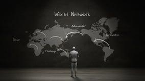 Robot cyborg standing world map, Handwriting `World network`, using communication technology. Artificial Intelligence. Robot cyborg standing world map