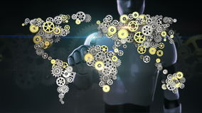 Robot, cyborg touched screen, Steel golden gears making global world map. artificial intelligence. global technology.2.