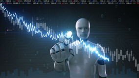 Robot cyborg touched screen, various animated Stock Market charts and graphs. Decrease line. Artificial Intelligence stock footage