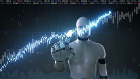 Robot cyborg touched screen, various animated Stock Market charts and graphs. Increase line. Artificial Intelligence