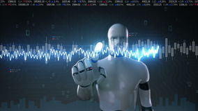 Robot cyborg touched screen, various animated Stock Market charts and graphs. normal line. Artificial Intelligence stock video