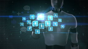 Robot, cyborg touching connect people, using social network service, communication technology concept