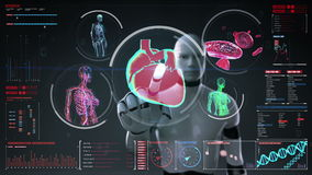 Robot, cyborg touching digital screen, Female body scanning blood vessel, lymphatic, heart, circulatory system in digital display. Dashboard stock video footage
