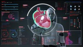 Robot, cyborg touching digital screen, scanning heart. Human cardiovascular system. medical technology. stock video footage