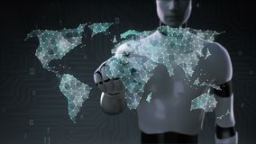 Robot, cyborg touching Dots gather to create global world map, internet of things. financial technology.2.