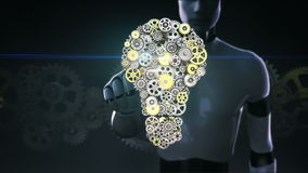 Robot, cyborg touching screen, big gears gathered idea bulb shape animation.