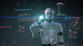 Robot cyborg touching user interface, digital display, grow artificial intelligence. Robot cyborg touching user interface, digital display, artificial