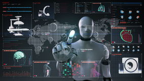 Robot, cyborg touching World Medical health care service in the world, Remote diagnosis and treatment, Telemedicine in digital dis