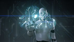 Robot cyborg wat betreft wolkenpictogram, Toegangswolk de animatie van de gegevensverwerkingsdienst Kunstmatige intelligentie stock illustratie