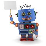Robot d'annata del giocattolo con il segno Immagine Stock Libera da Diritti