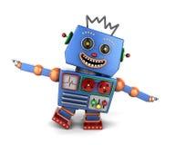 Robot d'annata felice del giocattolo che gioca aeroplano Immagini Stock Libere da Diritti