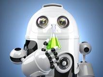 robot 3D con il pallone di vetro della prova Fotografia Stock Libera da Diritti