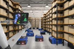 Robot d'entrepôt de contrôle de cyborg illustration de vecteur