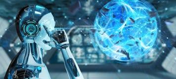 Robot d'homme blanc créant le rendu de la boule 3D d'énergie illustration libre de droits