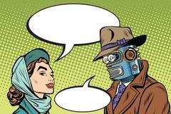 Robot d'homme de couples et belle femme illustration stock