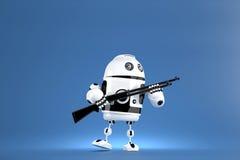 robot 3D med hagelgeväret begrepp isolerad teknologiwhite illustration 3d Innehåller den snabba banan Arkivbilder