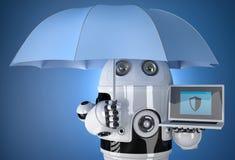 robot 3d med paraplyet och bärbara datorn Begrepp för dataskydd isolerat Innehåller den snabba banan Royaltyfri Bild