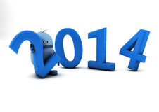 2014 and robot Stock Photo