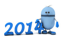 2014 and robot. 3d new year 2014 and blue robot Royalty Free Stock Images