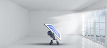 robot 3D que sostiene el panel solar dentro del sitio vacío con las ventanas ilustración del vector