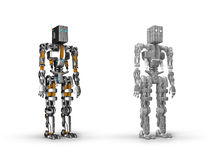 Robot. 3D render metal robot model vector illustration
