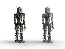 Robot. 3D render metal robot model stock illustration