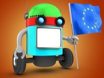 robot 3d sopra l'arancia Fotografia Stock