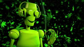 Robot dance listening headphones smoke djoint marihuana. 3d animation. HD 1080 loop green lemon 3D rendering vector illustration