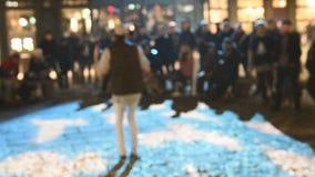 Robot dancer public street rap concert stock footage