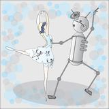 Robot dancing with ballerine Royalty Free Stock Photos