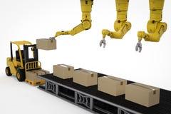 Robot dans l'entrepôt illustration de vecteur