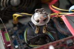 Robot dans l'ordinateur Photographie stock