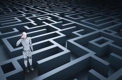 Robot dans le labyrinthe illustration de vecteur