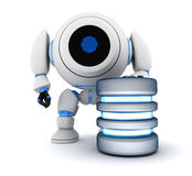 Robot and database. Abstract (done in 3d Royalty Free Stock Images
