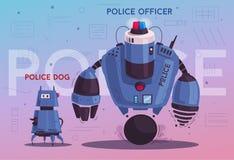 Robot de bourdon de police Cannette de fil de patrouille avec l'intelligence artificielle illustration de vecteur