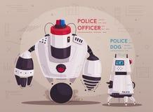 Robot de bourdon de police Cannette de fil de patrouille avec l'intelligence artificielle illustration stock