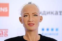Robot de humanoïde de Sophia à la conférence d'innovations Open au technopark de Skolokovo Photographie stock libre de droits