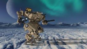 Robot de la batalla stock de ilustración