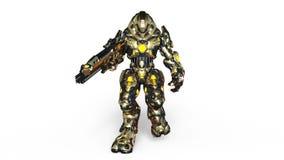 Robot de la batalla que camina stock de ilustración