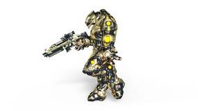 Robot de la batalla que camina ilustración del vector