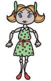 Robot de la hembra de la historieta Foto de archivo libre de regalías