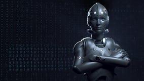 Robot de la mujer de la ciencia ficci?n, animaci?n de s del mundo digital del futuro de redes neuronales y el intellig artificial almacen de metraje de vídeo