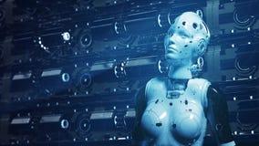 Robot de la mujer de la ciencia ficci?n, aprendiendo la informaci?n digital libre illustration