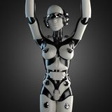 Robot de la mujer del acero y del plástico blanco Imagen de archivo libre de regalías