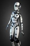 Robot de la mujer del acero y del plástico blanco Foto de archivo