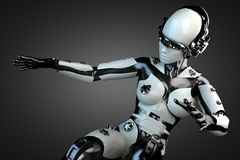 Robot de la mujer del acero y del plástico blanco Imagenes de archivo