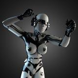 Robot de la mujer del acero y del plástico blanco Imágenes de archivo libres de regalías