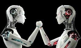 Robot de los hombres contra el robot de las mujeres Fotografía de archivo libre de regalías